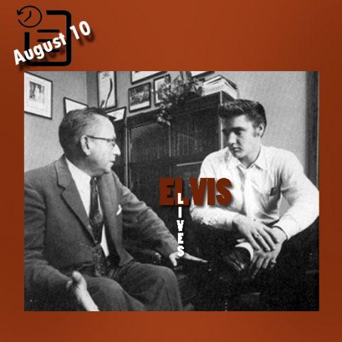 اجرا الویس و قاضی ماریون گودینگ بعد از اولین اجرا در سالن تئاتر فلوریدا، جکسون ویل، فلوریدا چنین روزی 10 آگوست 1956 که به الویس دستور داد حرکاتش را محدود کند