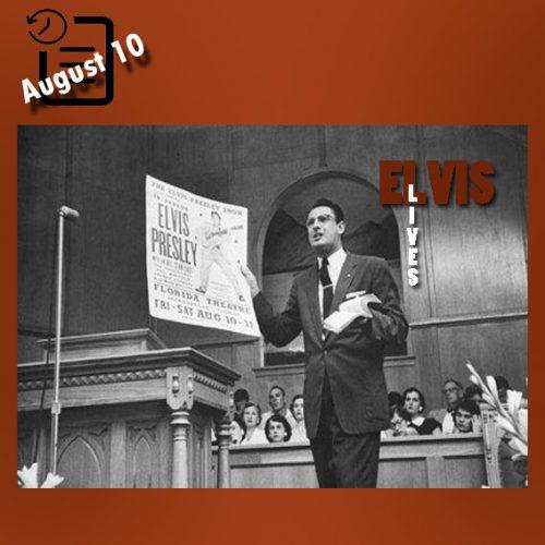 واعظ کلیسا رابرت گری در حال تبلیغ علیه اجرای الویس در جکسون ویل، فلوریدا آگوست 1956
