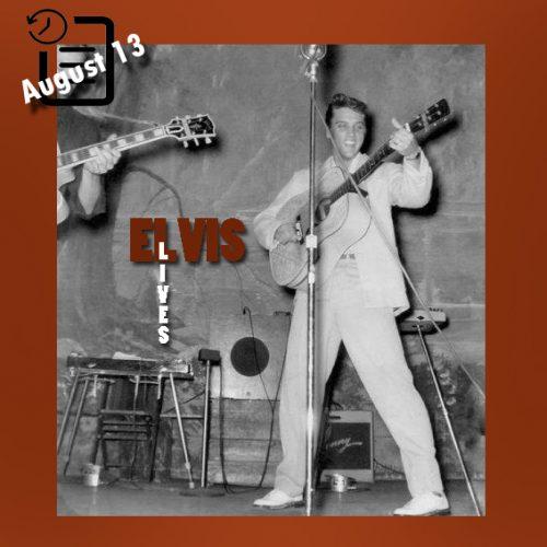 الویس در برنامه Louisiana Hayride در سالن شهرداری شهر شریوپورت چنین روزی 13 آگوست 1955