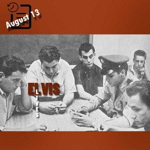 آلن فورتاس، لامار فایک، جورج کلاین، الویس پریسلی، بیلی اسمیت و لوئیس هریس در بیمارستان در حال انتظار و شنیدن وضعیت گلادیس مادر الویس چنین روزی 13 آگوست 1958
