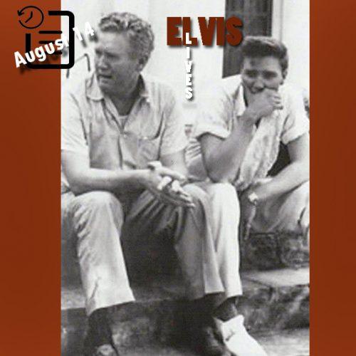 الویس به همراه پدرش در سوگ از دست دادن مادرش گلادیس چنین روزی 14 آگوست 1958