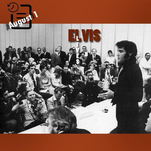الویس در کنفرانس مطبوعاتی در لاس وگاس چنین روزی اول آگوست 1969