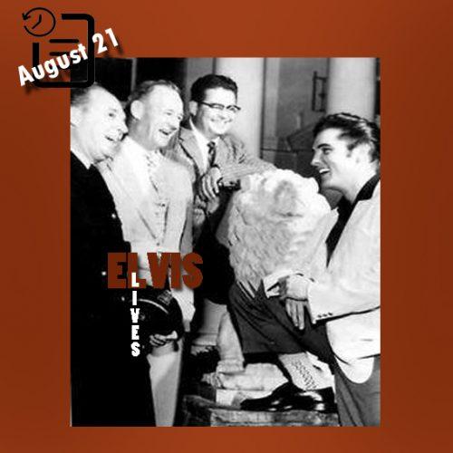 الویس در کنار شیر سنگی خریداری شده در گریسلند چنین روزی 21 آگوست 1957