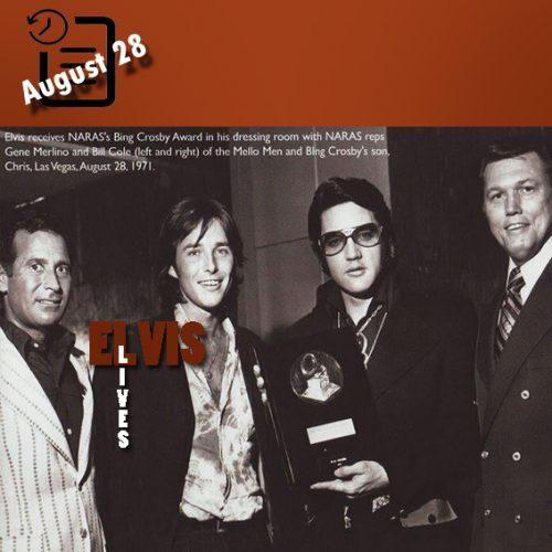 الویس در حال دریافت جایزه آکادمی ملی علوم و هنرهای ضبط چنین روزی 28 آگوست 1971