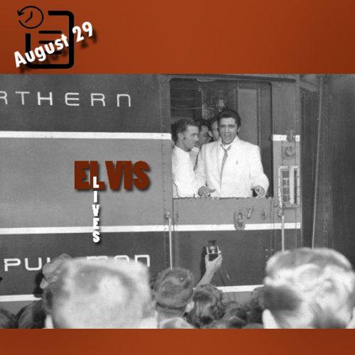 الویس به هنگام رسیدن به اسپوکن واشنگتن چنین روزی 29 آگوست 1957