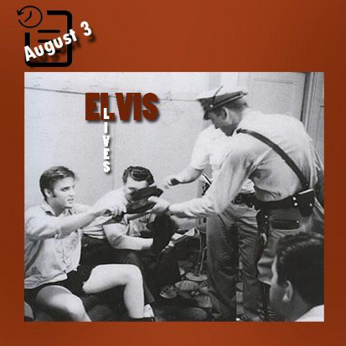 در چنین روزی در تاریخ 3 اوت 1956 الویس در ادامه تور چند هفته ایش قبل از رفتن به لس آنجلس به شهر میامی رسید. در طی بیش از دو روز، الویس تعداد 7 شو را در سالن تئاتر المپیا اجرا کرد و مانند سال قبل در فلوریدا ، الویس در میان طرفدارانش آشوبی را برپا کرد که در یکی از اجراهایش با شلوار کاملا پاره صحنه را ترک کرد.  توضیح عکس: الویس با شلوار پاره شده در رختکن سالن تئاتر المپیا شهر میامی فلوریدا چنین روزی 3 آگوست 1956