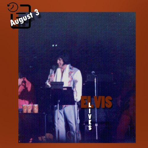 الویس در سالن یادبود کامبرلند کانتی ، فایت ویل، کارولینای شمالی چنین روزی 3 آگوست 1976