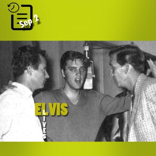 الویس در استودیوی رادیو ریکوردرز در بلوار سانتا مونیکا اوایل سپتامبر 1956