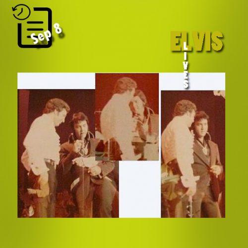 الویس در روی صحنه در کنسرت تام جونز سپتامبر 1973