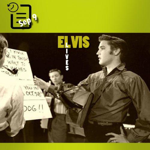 الویس در حال تمرین در شوی تلویزیونی اد سالیوان، در استودیو CBS، لس آنجلس چنین روزی 9 سپتامبر 1956