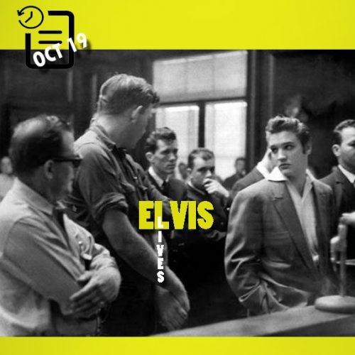 از سمت چپ صاحب پمپ بنزین و کارگرش و الویس در دادگاه چنین روزی 19 اکتبر 1956