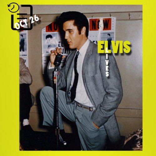 الویس در پشت صحنه سالن سیویس، سان فرانسیسکو، کالیفرنیا چنین روزی 26 اکتبر 1957