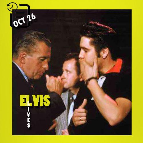 الویس در حال تمرین برای اجرای دومش در برنامه اد سالیوان در نیویورک چنین روزی 26 اکتبر 1956