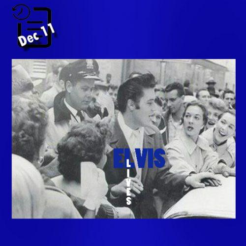 الویس در حالی که اتومبیل کادیلاک سویلش بنزین تمام کرده و توسط طرفدارانش احاطه شده است چنین روزی 11 دسامبر 1956