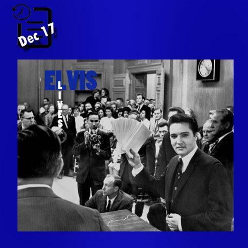 الویس در حال اهدای چکی به مبلغ 55،000 دلار برای 58 مرکز خیریه در شهر ممفیس چنین روزی 17 دسامبر 1963