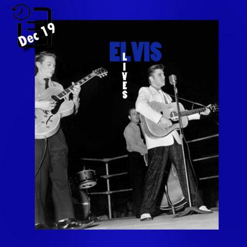الویس در رینگ کشتی برنامه نمایشی خیریه در ممفیس چنین روزی 19 دسامبر 1955