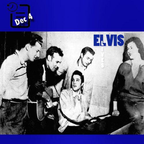 جری لی لوییس ، کارل پرکنز ، جانی کش ، الویس و مرلین اوانس در استودیوی سان چنین روزی 4 دسامبر 1956