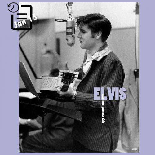 الویس در استودیو جهت ضبط ترانه های فیلم Loving you چنین روزی 15 ژانویه 1957