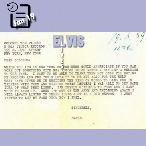 نامه الویس به کلنل چنین روزی 19 ژانویه 1959