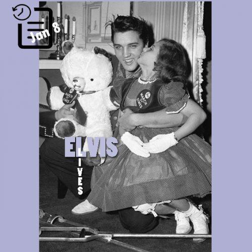 """الویس با دختری که سمبل  """"March of Dimes """" بود در راه پله های گریس لند عکس گرفت چنین روزی 8 ژانویه 1958"""