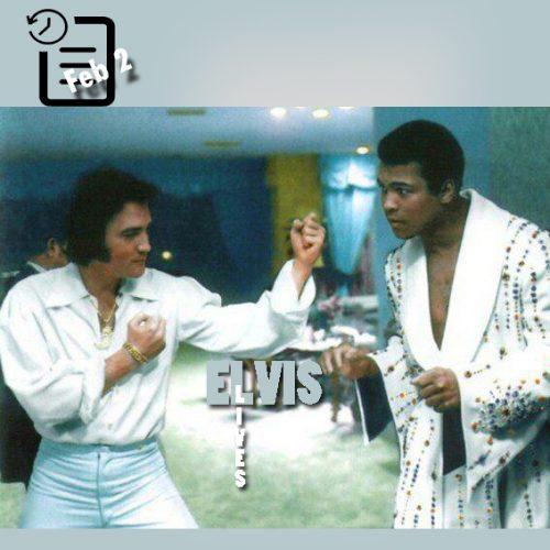 تصویری از دیدار الویس و محمد علی کلی فوریه 1973