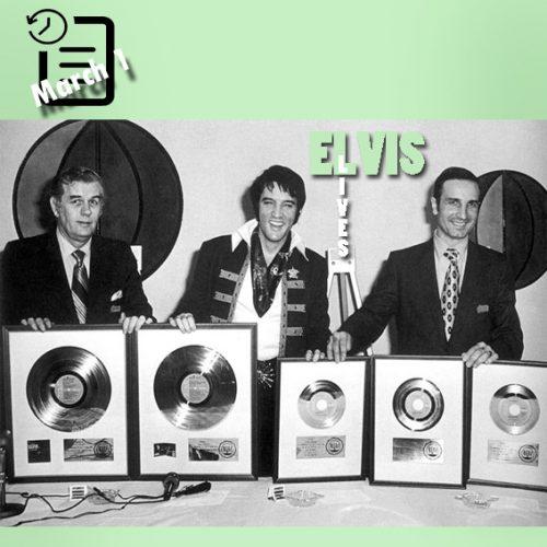 اهدای پنج صفحه طلایی به الویس در پایان شوی هوستون تگزاس ،کنفرانس مطبوعاتی 1970