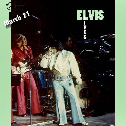 الویس در اجرای ساعت 2:30 بعد از ظهر سالن بزرگ ریور فرانت، سین سیناتی، اوهایو چنین روزی 21 مارس 1976