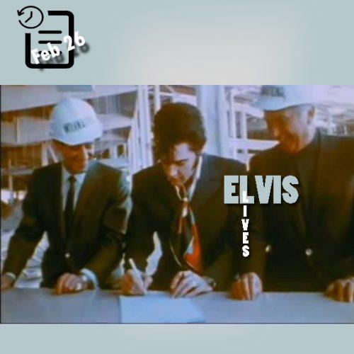 الویس در حال امضای قرارداد در محل ساخت و ساز هتل اینترنشنال 26 فوریه 1969