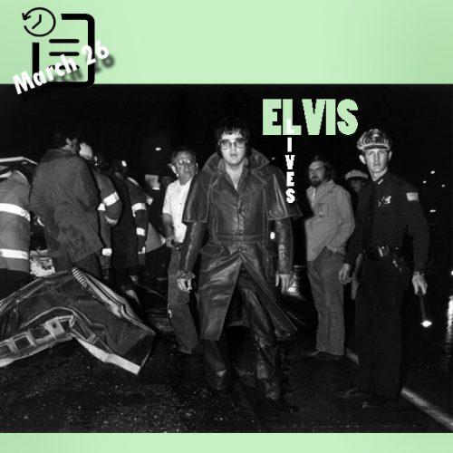 الویس در  سر صحنه یک تصادف در I-240 بزرگراهی در ممفیس چنین روزی 26 مارس 1976