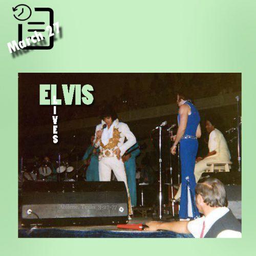 الویس در سالن بزرگ شهر تیلور ابیلین تگزاس چنین روزی 27 مارس 1977