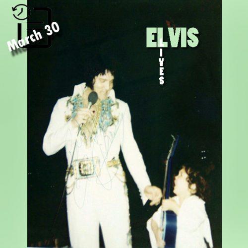الویس در سالن بزرگ راپیدز پریش شهر الکساندریا، لوئیزیانا چنین روزی 30 مارس 1977