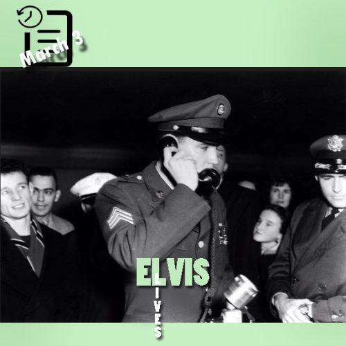 الویس در فرودگاه Prestwick اسکاتلند در حال تلفن کردن به پریسیلا 3 مارس 1960