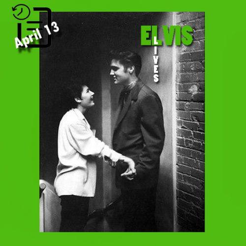 الویس در پشت صحنه سالن شهرداری  آماریلو، تگزاس چنین روزی 13 آوریل 1956