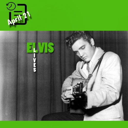 الویس در پشت صحنه سالن شهرداری ، هوستون، تگزاس چنین روزی 21 آوریل 1956