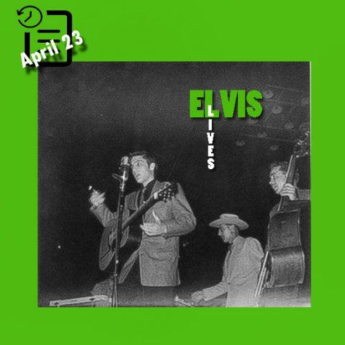 الویس در برنامه Louisiana Hayride ، در تالار سرپوشیده هارت او تگزاس شهر واکو تگزاس چنین روزی 23 آوریل 1955