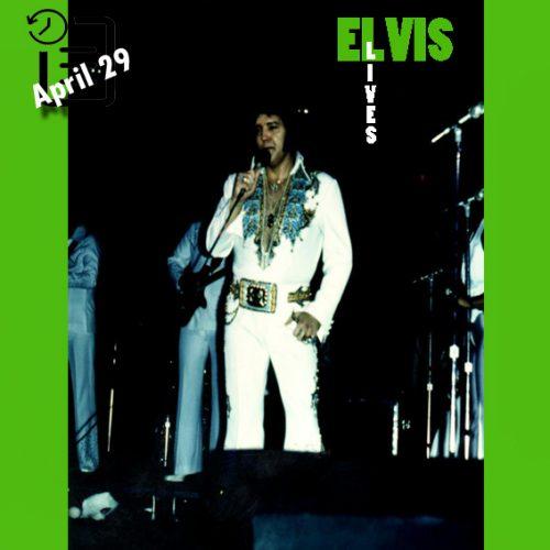الویس در تالار شهر دلوث، ایالت مینه سوتا چنین روزی 29 آوریل 1977
