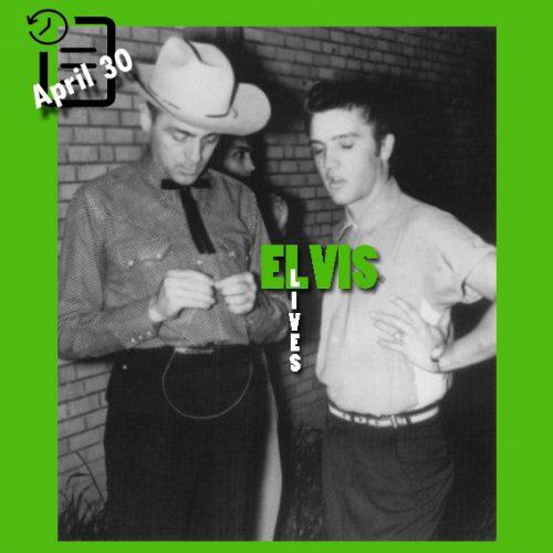 الویس در پشت صحنه دبیرستان گلیدواتر، تگزاس در چنین روزی 30 آوریل 1955