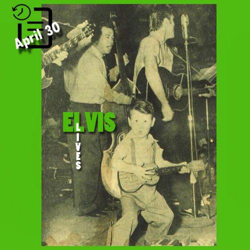 الویس در برنامه Louisiana Hayride ، در دبیرستان گلیدواتر، تگزاس در چنین روزی 30 آوریل 1955