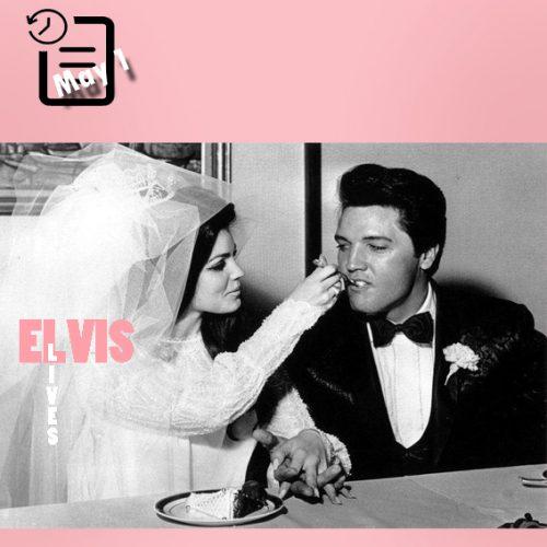 الویس و پریسیلا در مراسم ازدواج در هتل علاء الدین چنین روزی اول ماه مه 1967