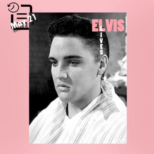 """الویس با کلاه گیس """"موهای کوتاه شده"""" در فیلم Jailhouse Rock سال 1957"""