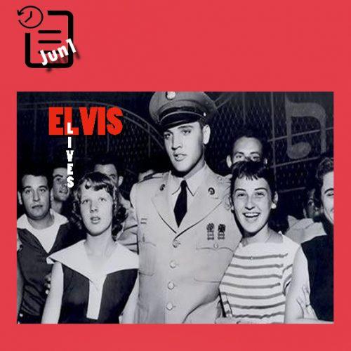 الویس در جلو دروازه گریسلند در کنار طرفدارانش چنین روزی 1 ژوئن 1958