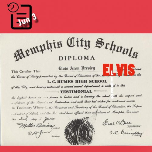 مدرک دیپلم الویس به تاریخ 3 ژوئن 1953
