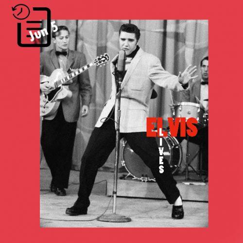 الویس در شو تلویزیونی میلتون برل شو، در استودیو NBC ، لس آنجلس چنین روزی 5 ژوئن 1956