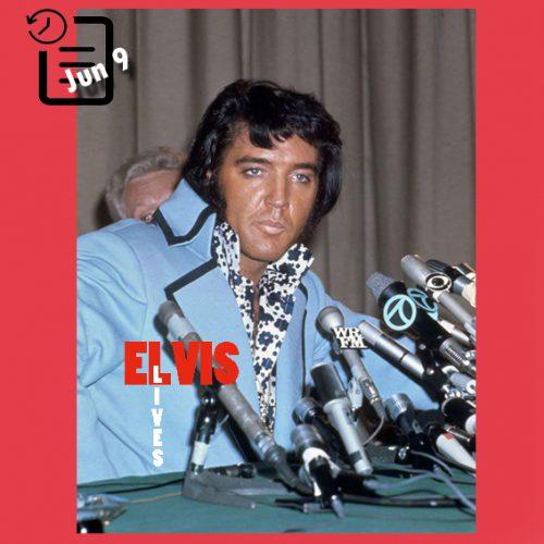 الویس در کنفرانس مطبوعاتی در هیلتون چنین روزی 9 ژوئن 1972