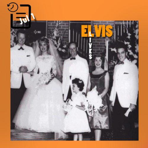 الویس در مراسم عروسی دوستش رد وست و پت بوید (منشی الویس) چنین روزی اول ژوئیه 1961