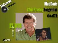 مک دیویس ، ترانه سرای آهنگهای الویس درگذشت